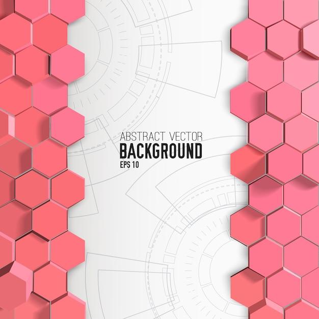 Abstrakter hintergrund mit rosa sechsecken Kostenlosen Vektoren