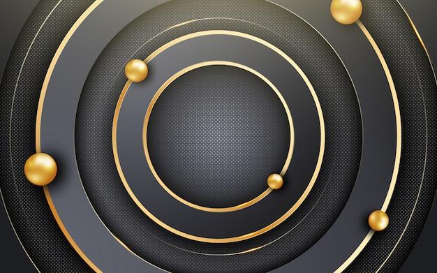 Abstrakter hintergrund mit schwarzen kreisen und schimmerndem glitzermuster. komposition mit kreisformen Premium Vektoren