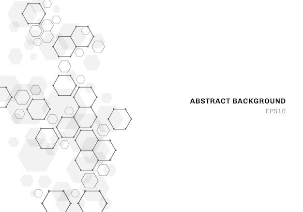 Abstrakter hintergrund mit sechseckiger molekülstruktur des neuronsystems Premium Vektoren