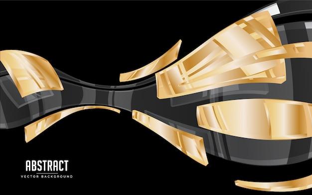 Abstrakter hintergrund schwarze und goldene transparenzfarbe. modernes minimales eps 10 Premium Vektoren
