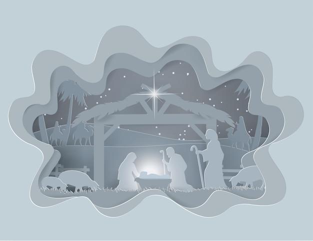 Abstrakter hintergrund traditionelle weihnachtskrippe des schätzchens jesus in der wintersaison Premium Vektoren