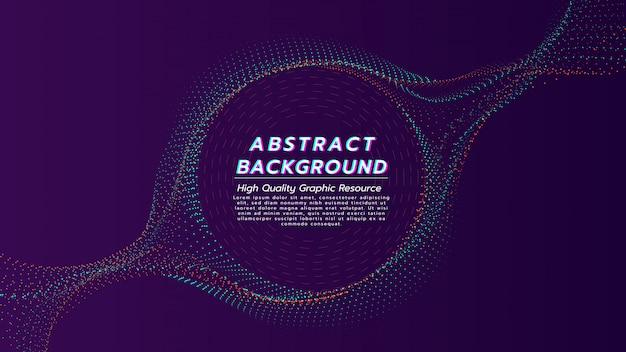 Abstrakter hintergrund von den partikeln fließen in farbe mit 2 tönen mit textraum in der kreisform. Premium Vektoren