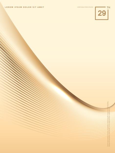 Abstrakter hintergrund von luxusgoldlinien, broschürenhintergrund Premium Vektoren
