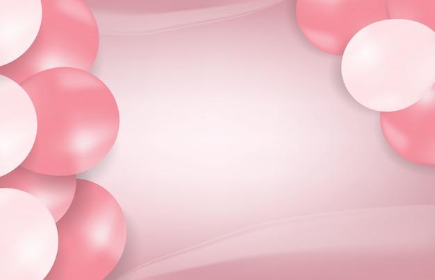 Abstrakter hintergrund von rosa ballonen, süße geburtstagsfeier Premium Vektoren