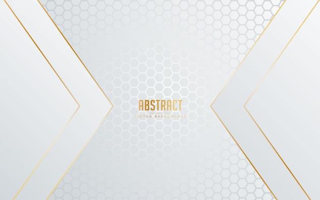 Abstrakter hintergrund weiße und graue farbe mit linie goldener farbe. Premium Vektoren