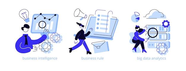 Abstrakter konzept-illustrationssatz der unternehmensstrategieentwicklung. Premium Vektoren
