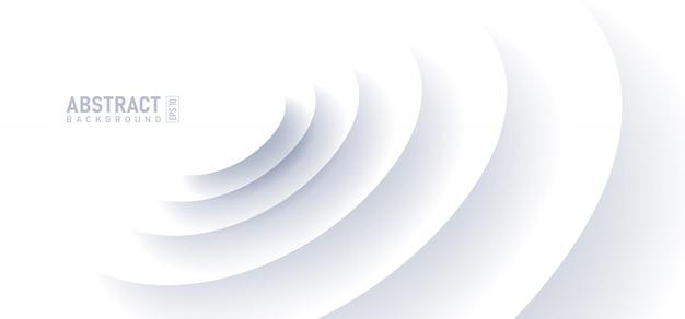Abstrakter kräuselungseffekt auf weißen hintergrund. kreisform mit schatten im papierschnittstil. Premium Vektoren