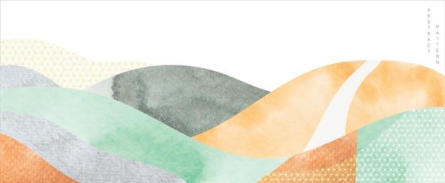 Abstrakter landschaftshintergrund. japanische welle mit aquarellbeschaffenheit in der orientalischen schablone. gebirgslayout-design. Premium Vektoren