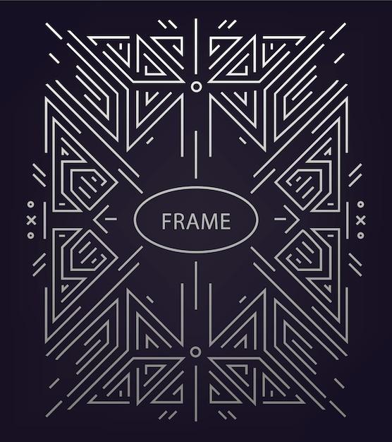 Abstrakter linearer geometrischer hintergrund, retro-rahmen, schablone. Premium Vektoren
