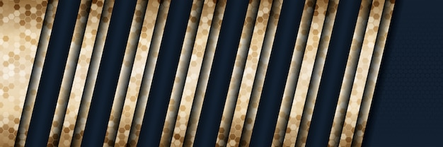 Abstrakter luxusgoldhintergrund der art 3d mit dunkelblauer metallbeschaffenheit Premium Vektoren