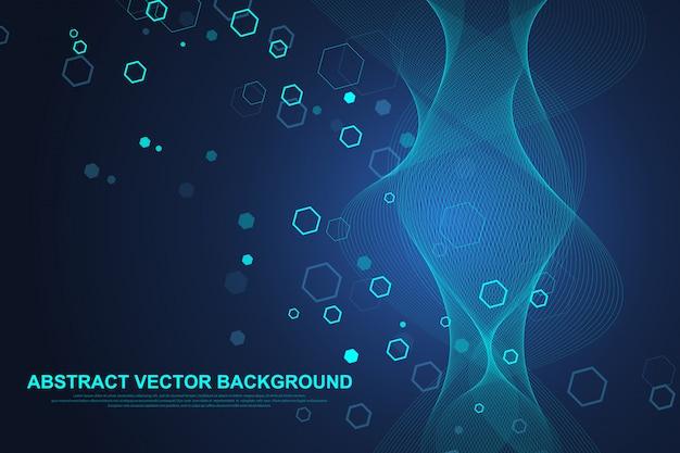 Abstrakter medizinischer hintergrund dna-forschung, molekül, genetik, genom, dna-kette. kunstkonzept der genetischen analyse mit sechsecken, linien, punkten. biotechnologie-netzwerkkonzeptmolekül, illustration Premium Vektoren