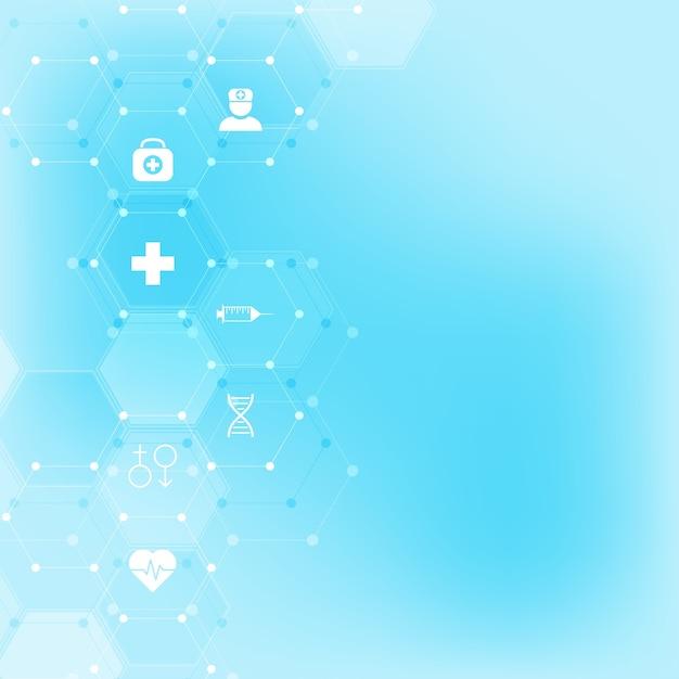 Abstrakter medizinischer hintergrund mit flachen symbolen und symbolen Premium Vektoren