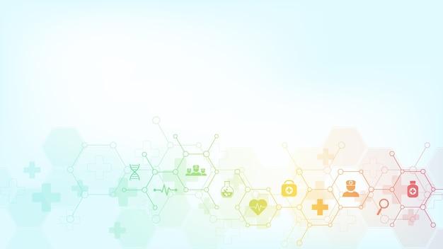 Abstrakter medizinischer hintergrund mit ikonen und symbolen. vorlage mit konzept und idee für gesundheitstechnologie, innovationsmedizin, gesundheit, wissenschaft und forschung. Premium Vektoren