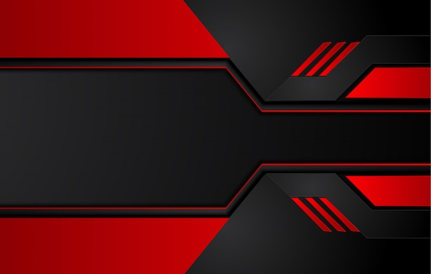 Abstrakter metallischer roter schwarzer hintergrund mit kontraststreifen. abstrakte grafische broschürenauslegung Premium Vektoren