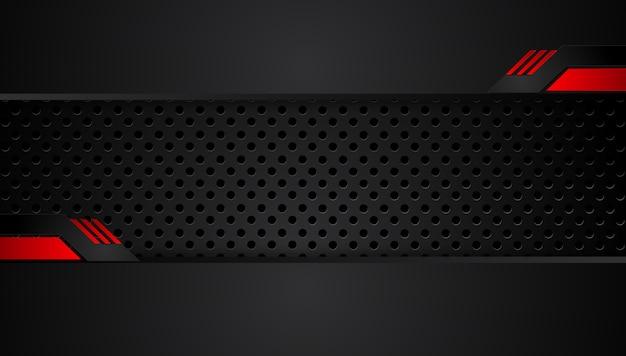Abstrakter metallischer roter schwarzer hintergrund mit kontraststreifen. abstraktes vektorgraphik-technologieinnovationskonzept Premium Vektoren