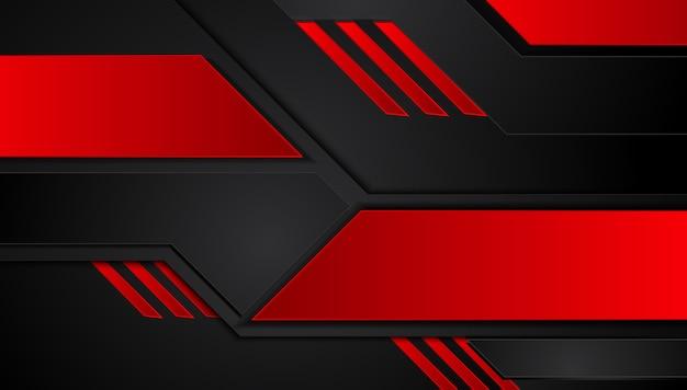 Abstrakter metallischer roter schwarzer hintergrund mit kontraststreifen Premium Vektoren