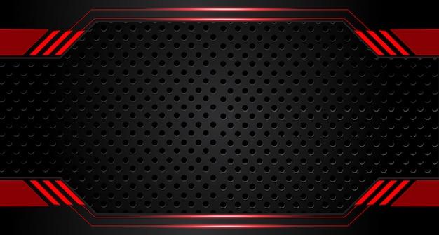 Abstrakter metallischer roter schwarzer rahmenplanentwurfstechnologeinnovations-konzepthintergrund Premium Vektoren