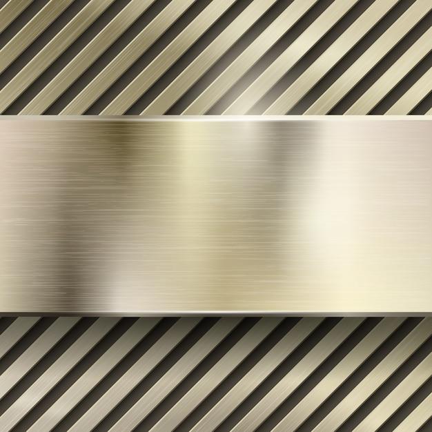 Abstrakter metallvektorhintergrund. metallisches stahl- oder eisenmuster glänzende, polierte platte, gitter oder gestreifte, gebürstete goldillustration Kostenlosen Vektoren