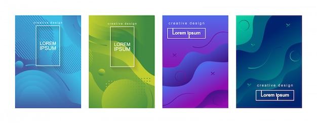 Abstrakter minimaler geometrischer steigungs-abdeckungs-hintergrund-schablonen-satz Premium Vektoren