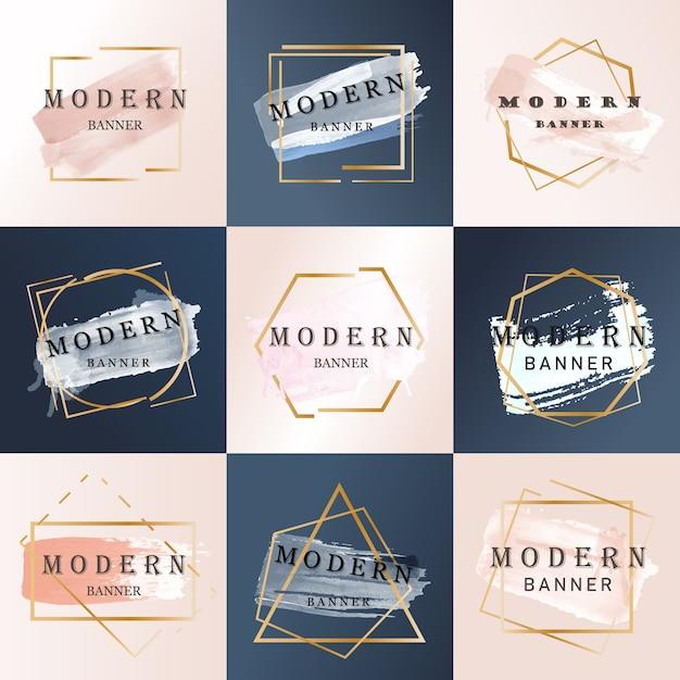Abstrakter moderner fördernder fahnensatz Premium Vektoren