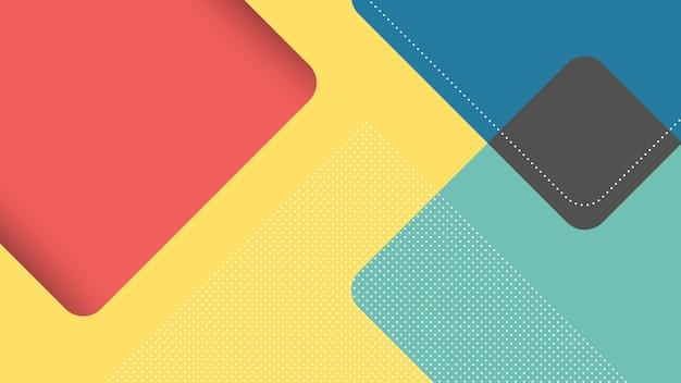 Abstrakter moderner hintergrund mit quadratischem dreieck im papierschnittstil in gelb, blau und rot Premium Vektoren