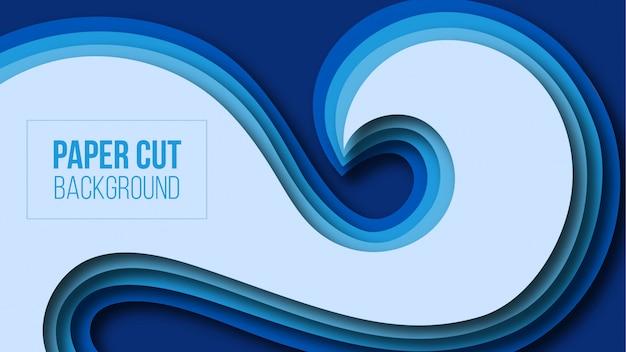 Abstrakter moderner schnitthintergrund des blauen papiers Premium Vektoren
