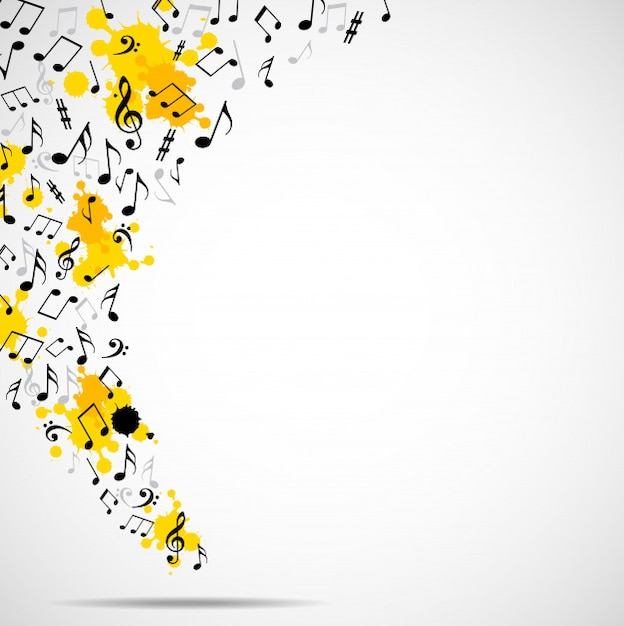Abstrakter musikalischer hintergrund mit anmerkungen Premium Vektoren