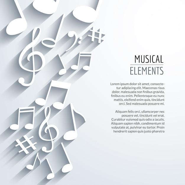 Abstrakter musikhintergrund mit anmerkungen mit schatten Premium Vektoren