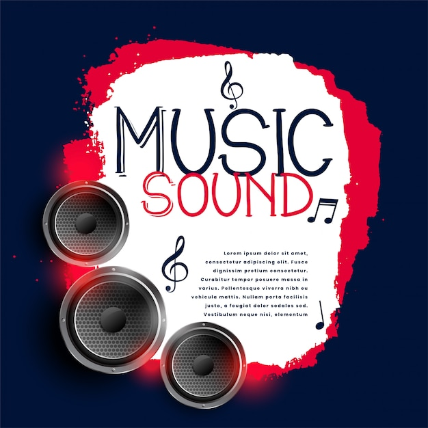 Abstrakter musikhintergrund mit drei lautsprechern Kostenlosen Vektoren