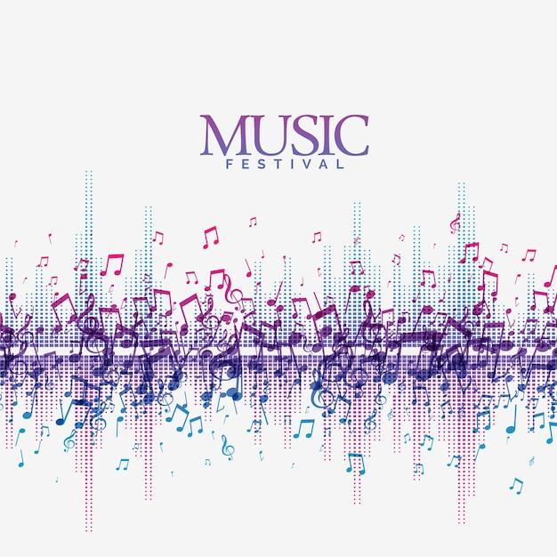 Abstrakter musikhintergrund mit tonlied schlägt welle Kostenlosen Vektoren