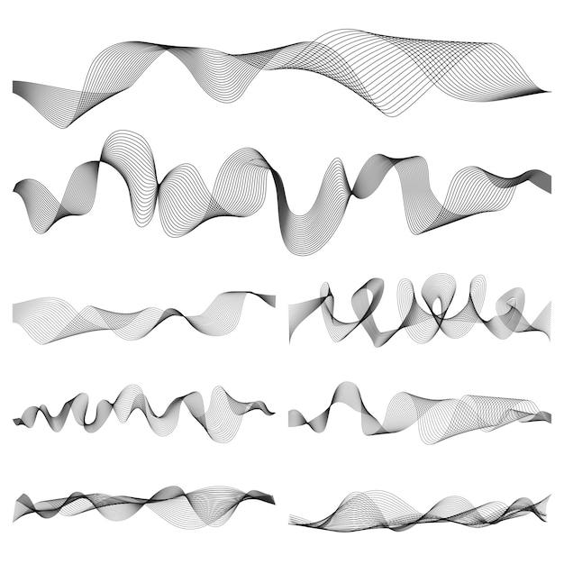 Abstrakter musikschallwellenimpulsvektorsatz Premium Vektoren