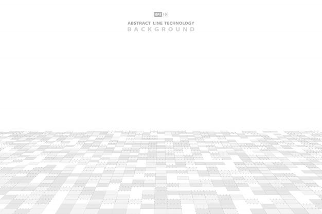 Abstrakter muster-technologiehintergrund des grauen und weißen quadrats. Premium Vektoren