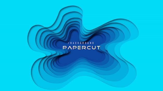 Abstrakter papier-schnitt-hintergrund des ozean-3d Premium Vektoren
