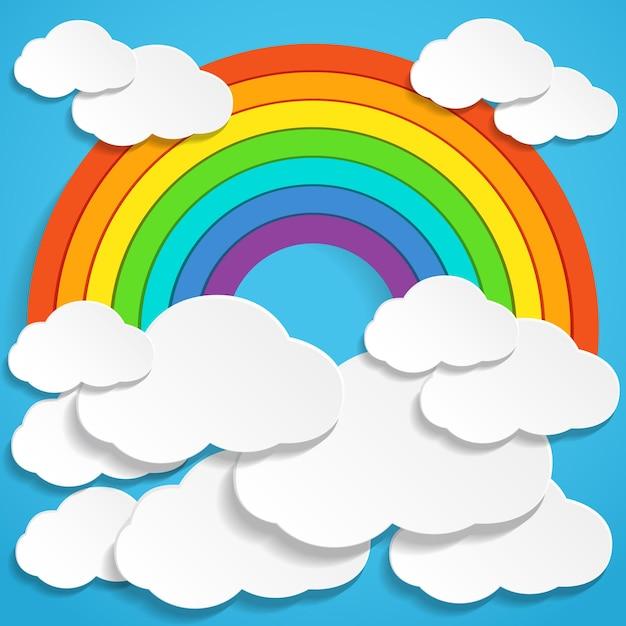 Abstrakter papierregenbogen und wolken am himmel Premium Vektoren