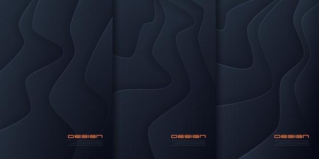 Abstrakter papierschnitt wellige hintergründe, futuristische cover-designs, trendige broschürenvorlagen. globale farbfelder. Premium Vektoren
