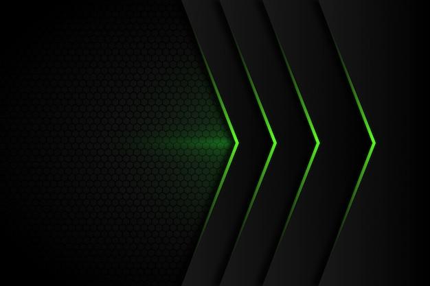 Abstrakter pfeil des grünen lichtes auf modernem futuristischem hintergrund des dunkelgrauen leerzeichendesigns Premium Vektoren