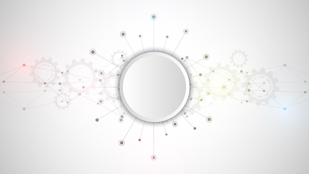 Abstrakter plexushintergrund mit verbindungspunkten und linien. globale netzwerkverbindung, digitale technologie und kommunikationskonzept. Premium Vektoren