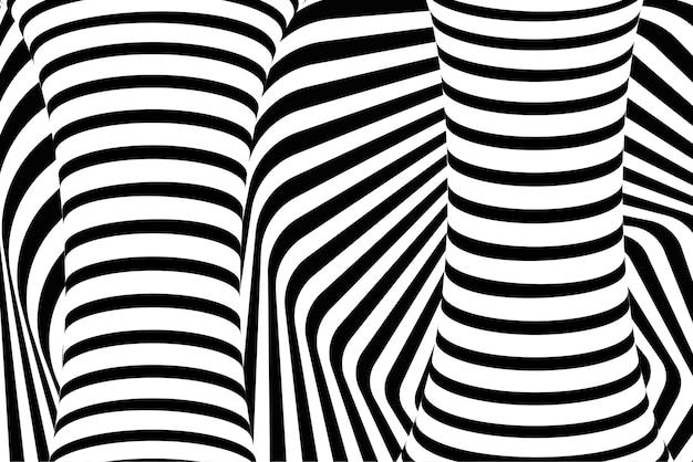 Abstrakter psychedelischer hintergrund der optischen täuschung 3d Premium Vektoren