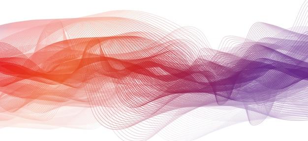 Abstrakter purpurroter und orange schallwellenhintergrund Premium Vektoren