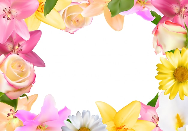Abstrakter rahmen mit lilie, rose und anderen blumen. natürlicher hintergrund Premium Vektoren