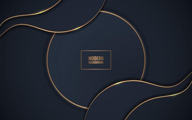 Abstrakter realistischer schwarzer hintergrund mit goldener liste Premium Vektoren