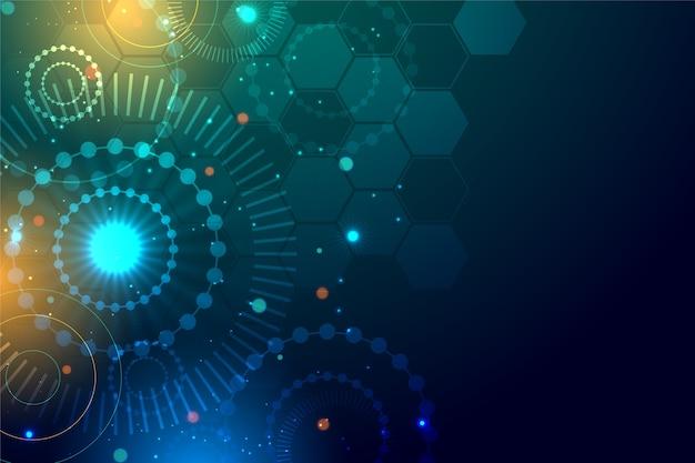 Abstrakter realistischer technologiepartikelhintergrund Kostenlosen Vektoren