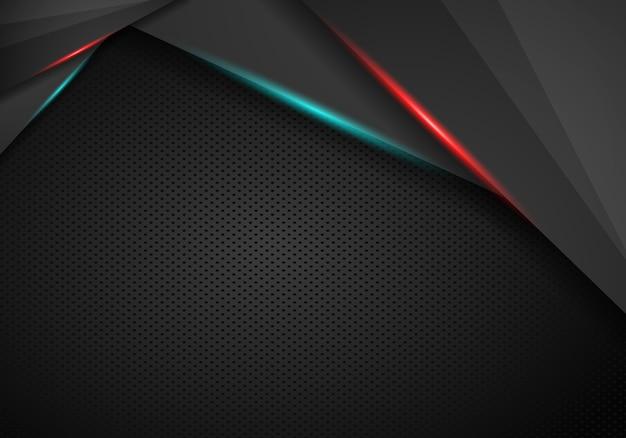 Abstrakter roter rahmen mit stahlbeschaffenheitslochmuster trägt modernen hintergrund der technologie zur schau. Premium Vektoren