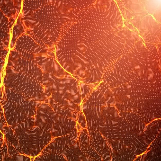 Abstrakter roter wellenmaschenhintergrund. punktwolkenarray. chaotische lichtwellen. technologischer cyberspace-hintergrund. cyberwellen. Kostenlosen Vektoren