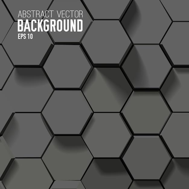 Abstrakter schwarzer hintergrund mit geometrischen sechsecken Kostenlosen Vektoren