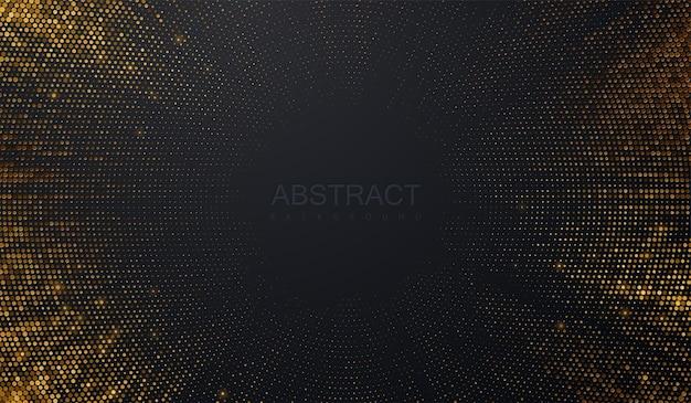 Abstrakter schwarzer hintergrund mit platzenden goldenen glitzern Premium Vektoren