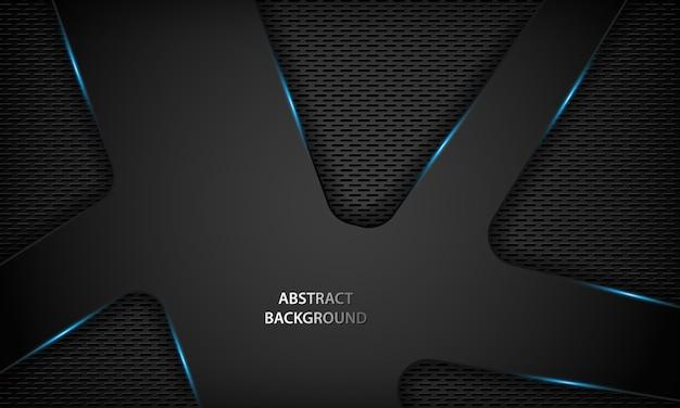 Abstrakter schwarzer technologiehintergrund mit blauem metallischem. Premium Vektoren