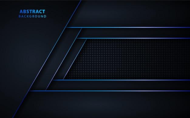 Abstrakter schwarzer technologiehintergrund mit blauem metallischem Premium Vektoren