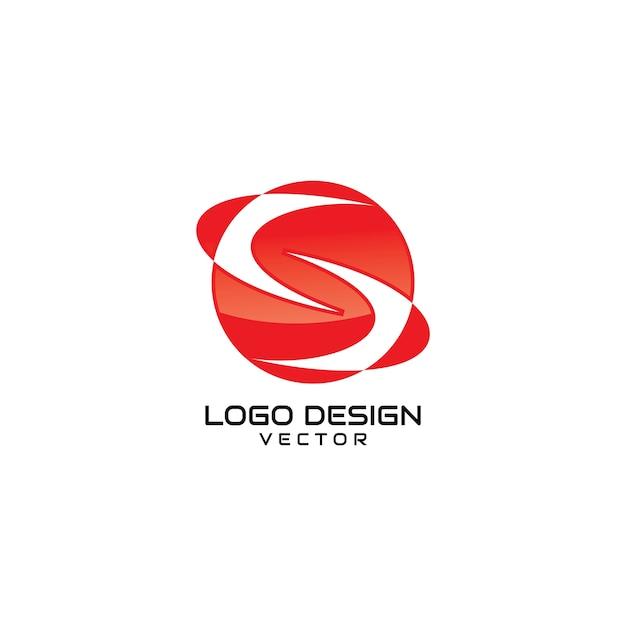 Abstrakter symbol-logo-design-vektor des roten s Premium Vektoren