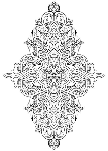 Abstrakter symmetrischer blumendekor mit niederlassungen und blättern Premium Vektoren